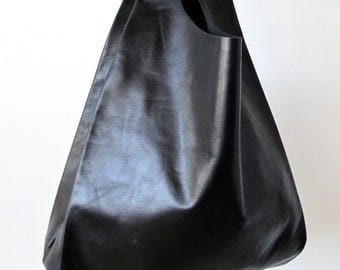 The Shopping Bag - Black Leather