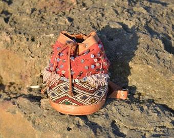 Mirror Kilim backpack, kilim leather backpack, moroccan leather bag, ethnic backpack, shoulder leather bag