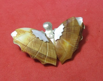Antique Vintage Costume Brooch Butterfly with seashell wings