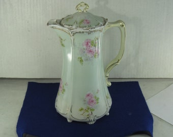 Antique Chocolate Pot Hand Painted and Partially  Gilt Light Teal Pink Flowers