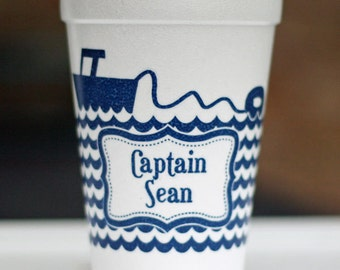 Custom Lakehouse Styrofoam Cups with Ski Boat and Tube - One Color
