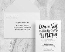 engagement party invites // engagement party invitations // PRINTED party invites // brush lettering // hand lettering // modern // custom