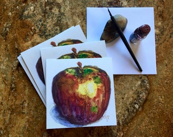 Original Watercolor Apple Greeting Cards