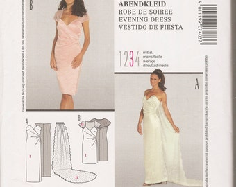 Burda style 7403 sewing pattern evening dress Abendkleid wedding dinner party misses' sizes 6-16 OOP German Germany European