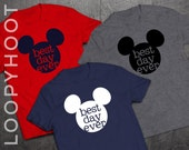 "Disney Shirts ""Best Day Ever"" Mouse for Family Vacation in Navy, Red or Gray -- T-shirt, Disney World, Disneyland, Cruise, Park"