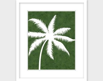 Palm Tree Art Print, Printable Art, Tropical Art Instant Digital Download, Green & White