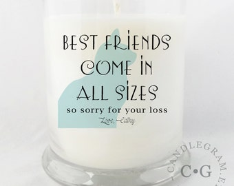 Candle, Soy 10oz in jar....Sorry for your loss, Loss of a Pet ..Cat