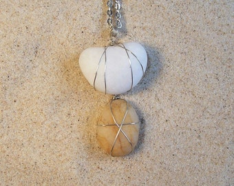 Jewelry, Necklace.  Unique Lake Superior Stones, Quartz, with a Silver Chain.  Beach stones, rocks.