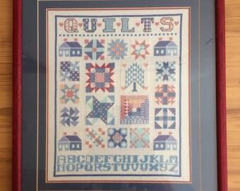 Vintage Finished Framed Cross Stitch Quilts Sampler
