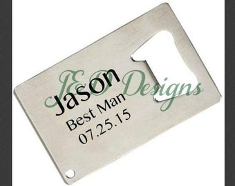 Credit Card Stainless Steel Personalized Bottle Opener