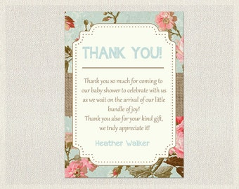 Baby Shower Thank You Card Blue Pink Burlap Shabby Chic Floral Thank You Note Girls Neutral Thank You Card BS-16