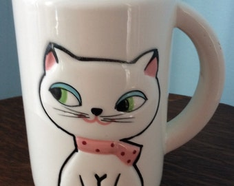 """Holt Howard Cozy Kitten Cat Siamese Ceramic"""" Meow"""" Mug with Squeaker Made in Japan"""