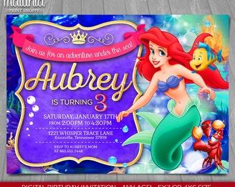Little Mermaid Invitation - Disney Princess Ariel Invite - Little Mermaid Birthday Purple Printed Invitation - Disney Princess Ariel Party