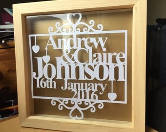 Personalised Papercut Wedding Frame