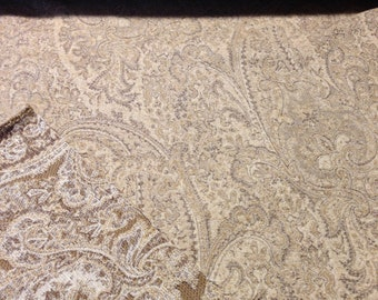 "SALE! Chenille Paisley Upholstery Fabric, Neutral Colors, 54"" width"