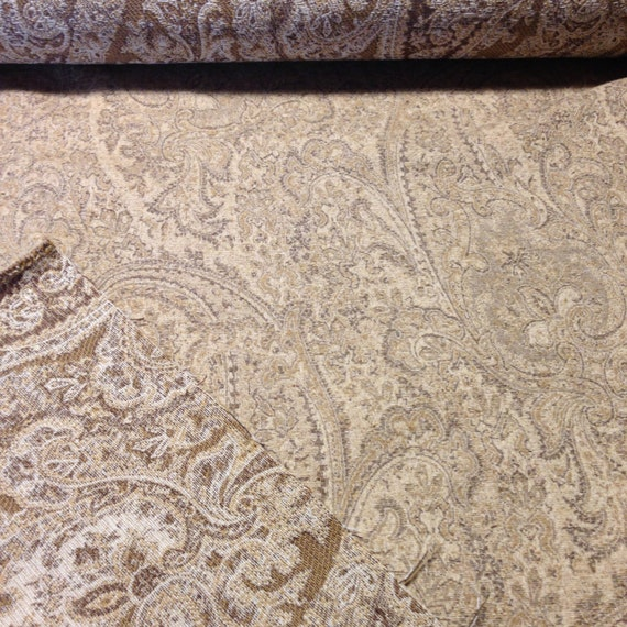 Sale Chenille Paisley Upholstery Fabric Neutral Colors