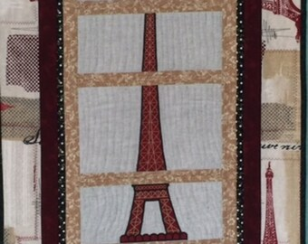 Eiffel Tower Quilted Wall Hanging
