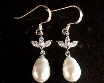 Sterling silver swarovski pearl earrings, crystal bridal earrings, cubic zirconia teardrop wedding jewellery, silver bridesmaid earrings