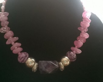 Necklace with purple and pink stones