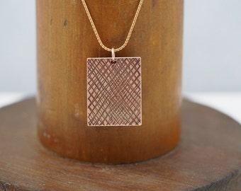 Cross Hatch Copper Pendant