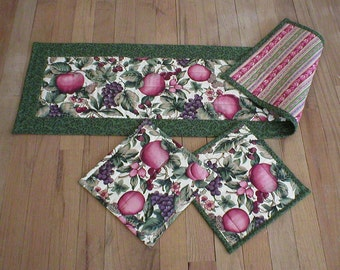 "Handmade Quilted Table Runner (37"") and Hot Pads (8.5"" and 9"") Set, Unique, Apples Fruit Leaves (31-40-15-7242)"