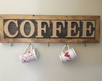 Rustic Coffee sign with hooks to hang mugs