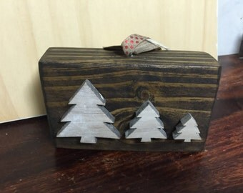 Reclaimed Wood Ornament with Wood Tree Embellishments