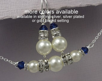Navy Blue Wedding Jewelry, Navy Blue Bridesmaid Jewelry, Swarovski Ivory Pearl and Dark Sapphire Navy Crystal Bridesmaid Jewelry Set