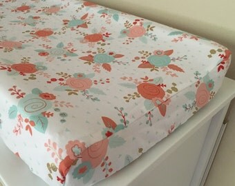 Mint and Coral Floral Designer Changing Pad Cover, Baby Bedding Floral Design Girl Nursery Floral Spring, Changing pad mattress cover