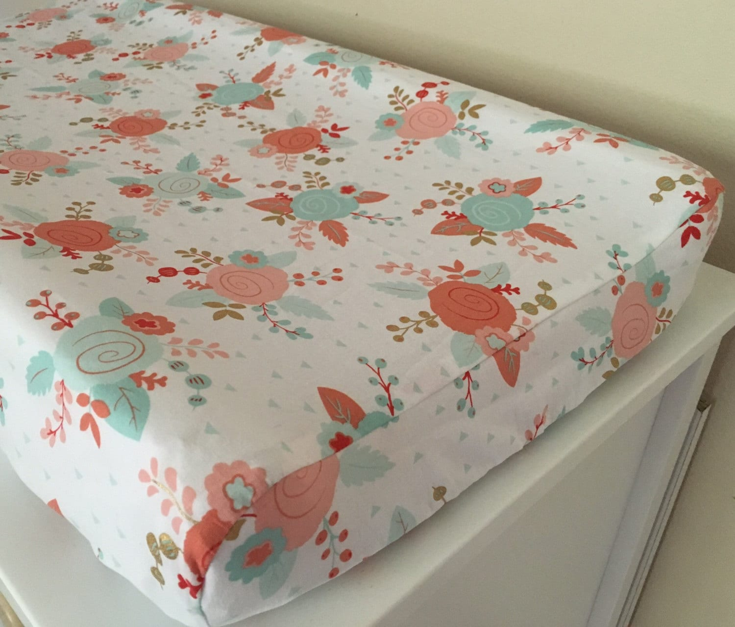 mint and coral floral designer changing pad cover baby. Black Bedroom Furniture Sets. Home Design Ideas