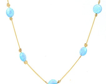 Opal Necklace, Gold Charm Necklace, 6mm opals , Hand Made Necklace, Opal Jewelry,Opal coin Necklace