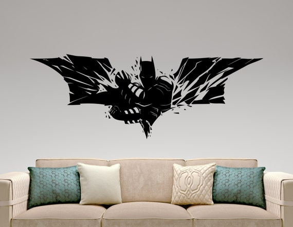 Batman wall decal super hero stickers marvel comics decals for Dark knight mural