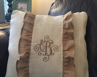 Burlap pillow cover, personalized pillow cover, decorative pillow cover, shabby pillow cover