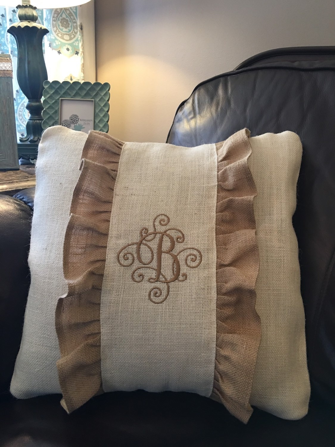 Decorative Burlap Pillow Covers : Burlap pillow cover personalized pillow cover decorative