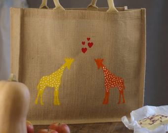 Giraffe Large Market shopping bag. Hand painted jute reusable bag. Burlap gift bag, Christmas gift for Mum, Nan, hessian shopping tote bag
