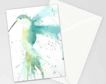 Hummingbird note cards in blue Set of 6 blank, blue, summertime, greeting cards, birds, beauty