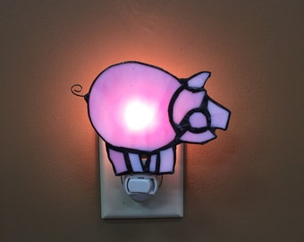 Stained Glass Piggy night light