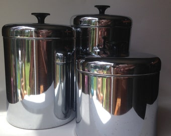 Pantry Queen Set Of 3 Stainless Canisters 1950's