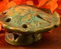 Fulper Pottery Flower Frog, 1920's Verte Antique Lily Pad Flower Frog (Green)