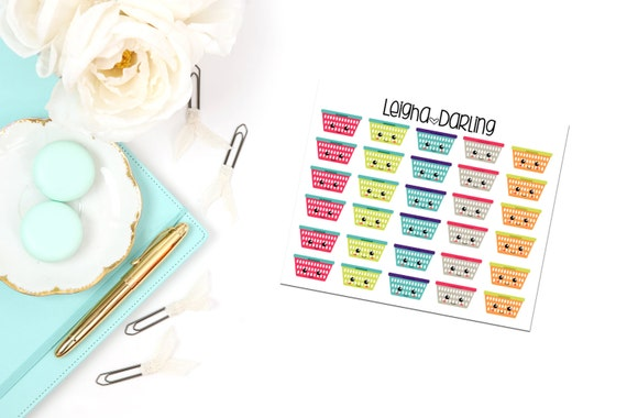 Kawaii Laundry Basket Planner Stickers From Leighadarling