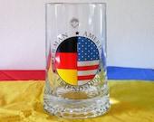 Vintage Fiye Stein, German American Friendship Stein, German American Glass Stein, Glass Stein Made in Italy