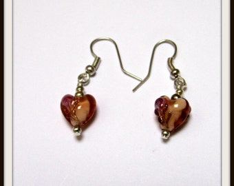 Glass heart earrings.Amber glass heart.Valentines hearts Mothers day Gift,Birthday present