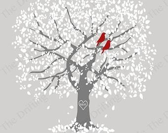 Silver wedding anniversary tree print, personalized tree print, personalized print for couples, personaized wedding gift idea,