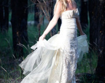 Stunning Goddess of Gold Strapless Wedding Dress with Gold Glitter Net Train and Rosette featured at top of train