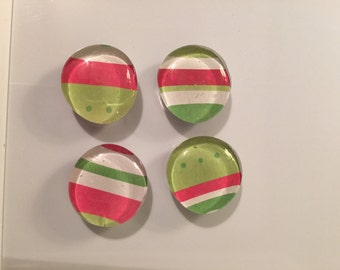 Christmas Glass Bubble Magnets - Set of Four