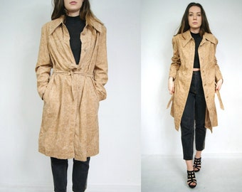 Spring caramel coat In vintage style trench coat 80's Belted coat jacket long overcoat New York style L XL Size