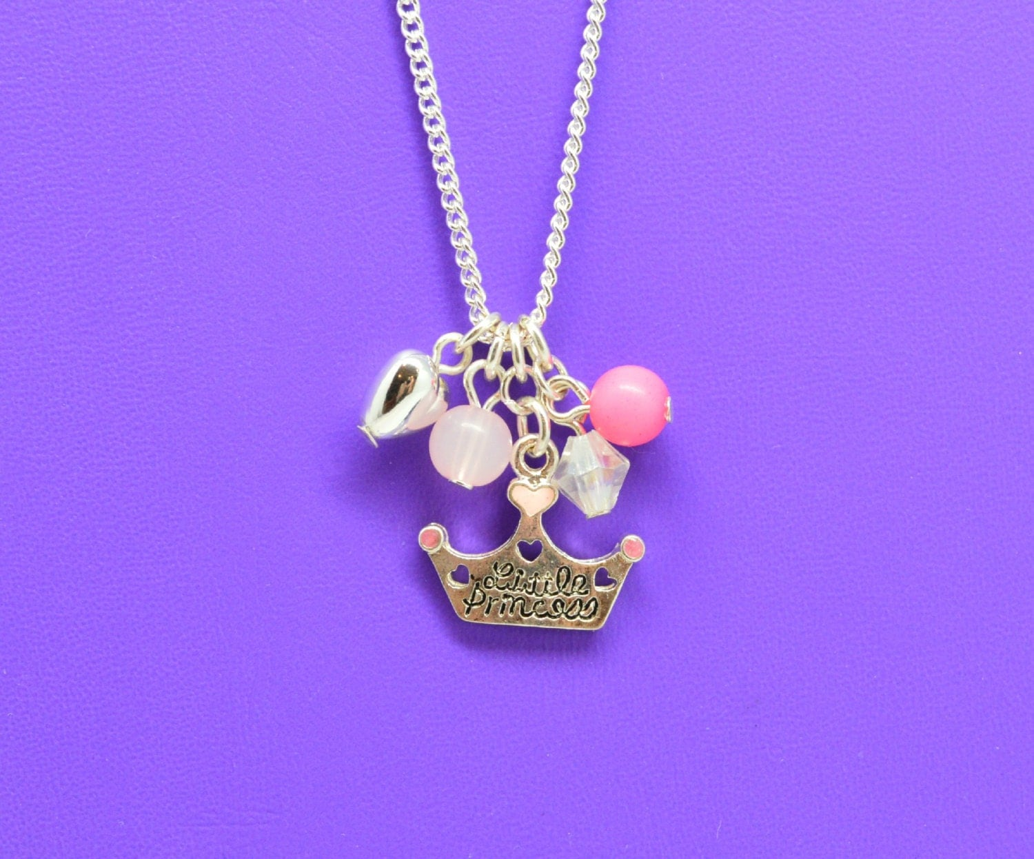 princess crown charm necklace little girls jewelry adorable. Black Bedroom Furniture Sets. Home Design Ideas