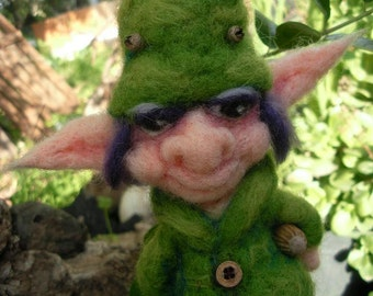 needle felted elf