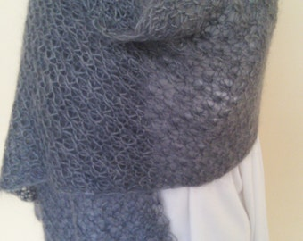 Hand Knit Lacy Mohair Shawl