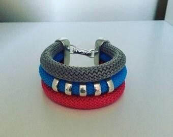 Triple strand, multi coloured, climbing rope bracelet.